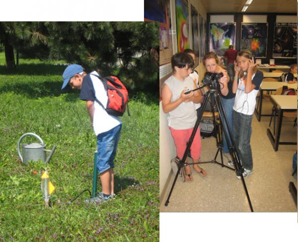 Wasserraketen links und junge Reporter rechts