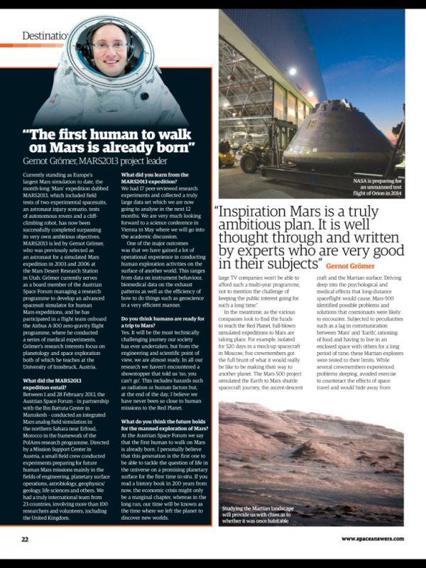 SpaceAnswers Seite 22 Interview mit Gernot Groemer