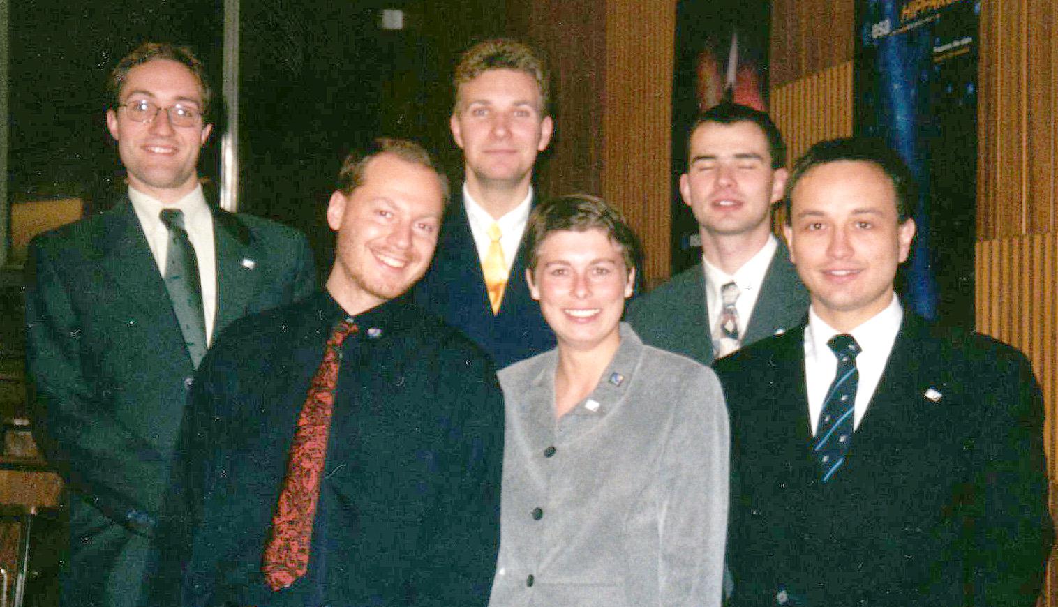 he first managing board of the Austrian Space Forum in 1998 (f.l.t.r.: G. Grömer, M. Biack, N. Frischauf, G. Weinwurm, G. Grabenhofer, W. Balogh)