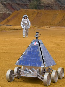 A first model of the Phileas rover on duty during a field test in Rio Tinto, Southern Spain (c) OeWF (Paul Santek)