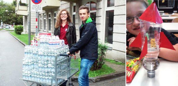 Links: Mit Sophie und Martin beim Einkaufen... ÖWF-Einkäufe haben manchmal ihre eigenen Dimensionen; rechts: Es ist wohl allgemein bekannt: eine Rakete ohne Nutzlast (in diesem Fall der Pilot, ein Gummibär) ist nur der halbe Spaß © ÖWF