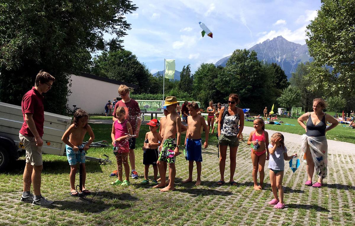 """Building water rockets at a local lake """"Baggersee"""""""