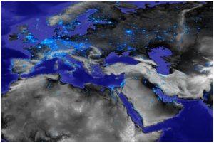 Blick auf Eurasien und Afrika aus dem Weltall