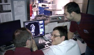 Aouda X Dev-team watching the operations console of the CT-Scanner