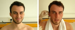 Ulrich Luger at the beginning and the end of the ergometry, whilst the last lactate-sample is taken from his ear.