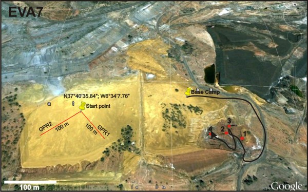 """Map of EVA no. 7 into the """"Rock Garden"""""""