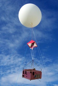 The payload (pink box) is attached to the balloon beneath the radar reflector.