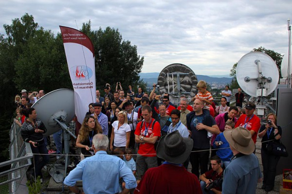 "Visitors witness the take off at the ""Lustbuehel"" in Graz"