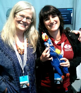 Maria Pflug-Hofmayr & Olivia Haider with Camilla mascot wearing already the Oewf pin