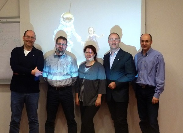 Techcos kick-off group photo with M. Klicker (left) and Groemer (2nd from right)