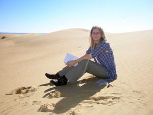 Csilla Orgel on Chebbi dunes.