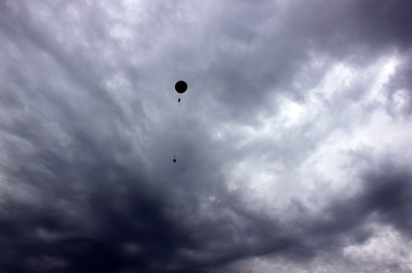 Sherpa III Neil Armstrong disappears into the cloudy sky