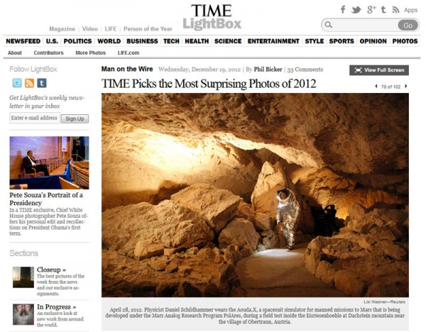 Screenshot from Time.com's most surprising photo of 2012