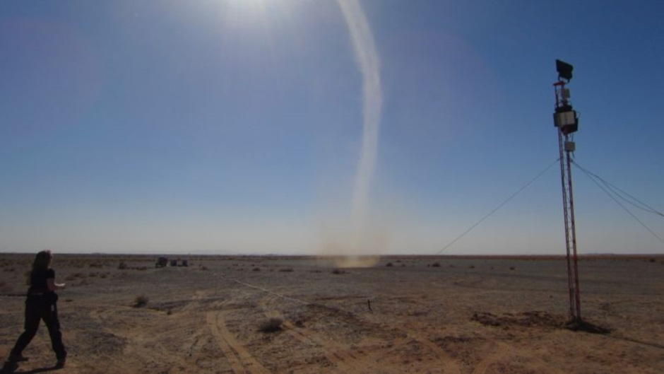 Dust devil photographed by Mars 2013 field team on the 3rd of February. (c) OeWF