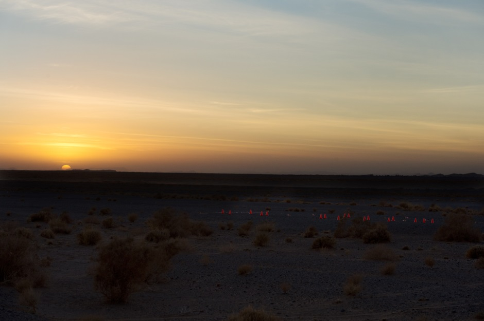 Quiet sunset over the track laid out for the DELTA experiment. (c) OeWF (Katja Zanella-Kux)
