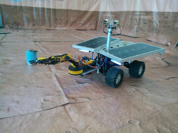 "The OeWF's Dignity rover in action at ""Hall Aktiv"". (c) OeWF"