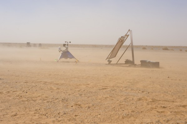The Hunveyor robot partially obscured by sandstorms. (c) OeWF (Katja Zanella-Kux)