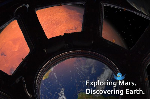 Visual Erde/Mars gesehen durch ISS Cupola Fenster
