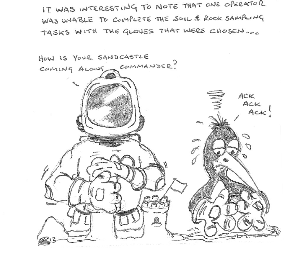 It can be a challenge working with spacesuit gloves: WSW Mission to Mars Cartoon Day 2
