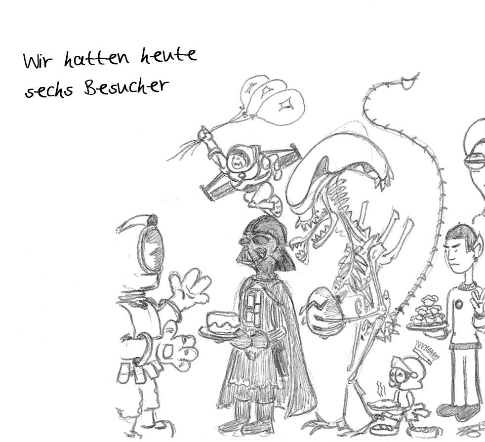 Wir hatten heute sechs Besucher: WSW Mission to Mars Cartoon Tag 3