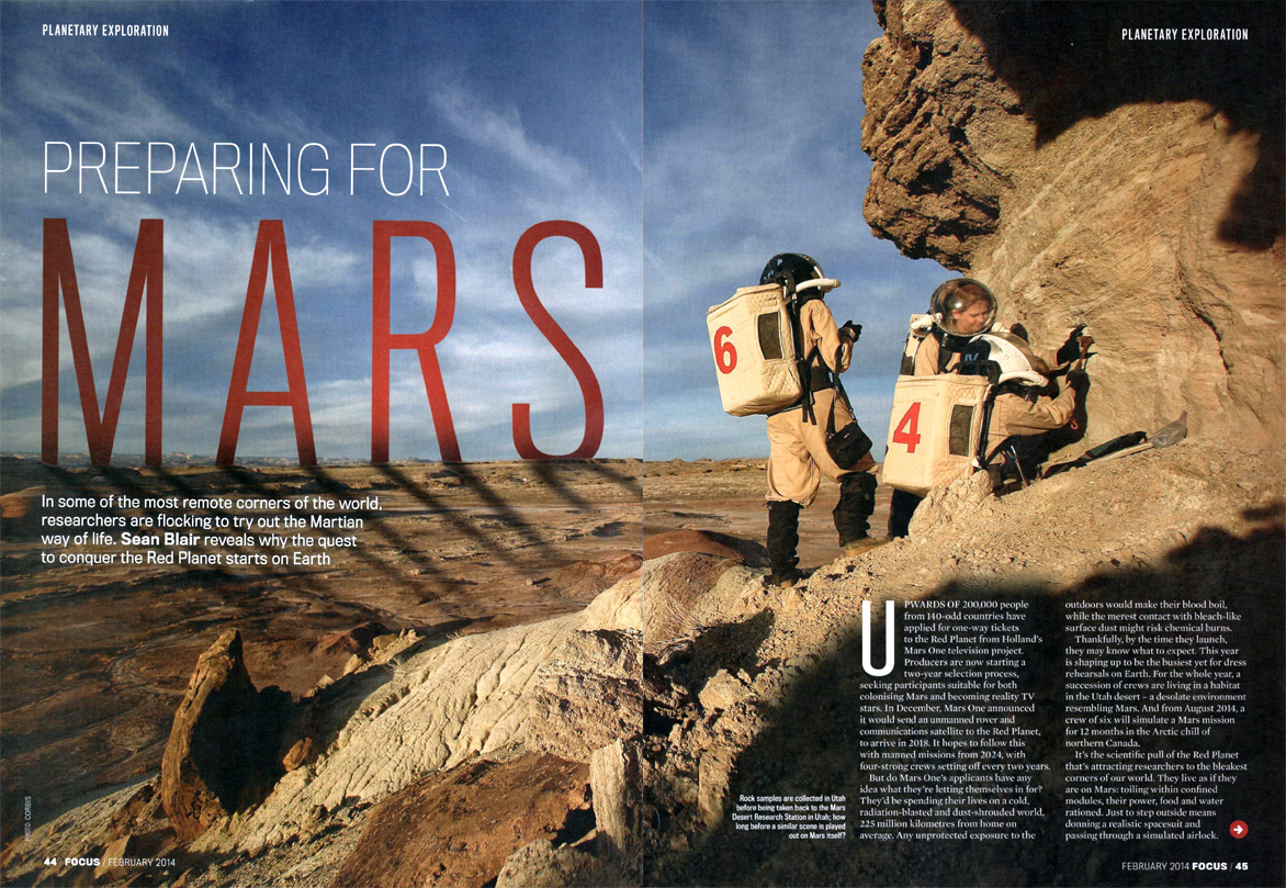 BBC FOCUS magazine featuring our Mars Analog Research