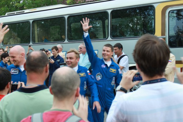 Astronauts walk-out from hotel