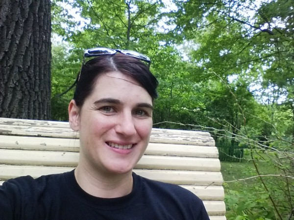 me sitting on bench at Korolev's house