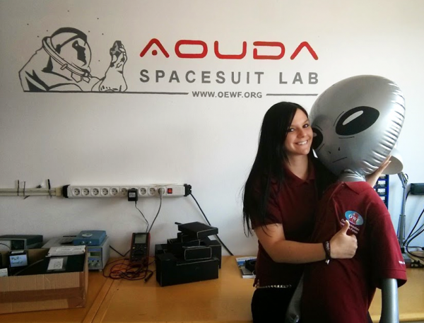 Veronika Haberle with our Spacesuit Lab mascot ;-)