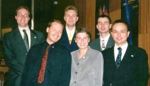 Der erste ÖWF Vorstand 1998. (v.l.n.r.: G. Grömer, M. Biack, N. Frischauf, G. Weinwurm, G. Grabenhofer, W. Balogh)