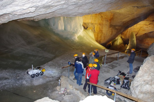 The polish MAGMA rover carrying the french WIDOM ground penetrating radar (scheduled for the ESA EXOMARS mission) during an OeWF field test in the Dachstein ice caves.