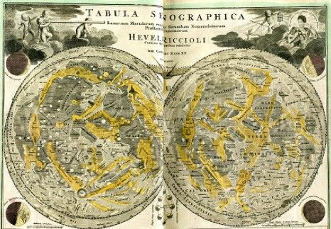 Map of the moon by Johann Baptiste Homann, based on the model of Riccioli