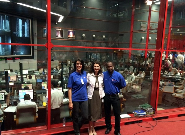 Roberta Paternesi (left) with colleagues at the main control room in Kourou