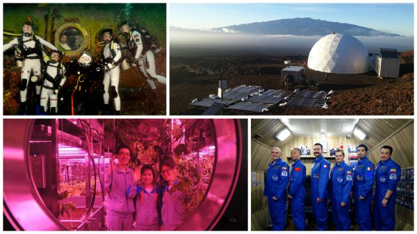 A sample of analog missions. Top left: NASA Extreme Environment Mission Operations (NEEMO) Crew 16, including ESA astronaut Tim Peake (Credit: NASA); Top right: Hawai'i Space Exploration Analog and Simulation (HI-SEAS) habitat, jointly operated by NASA and the University of Hawai'i at Manoa (Credit: HI-SEAS); Bottom left: Crew in the Plant Cultivation Chamber of China's Lunar Palace 1 (Credit: english.people.cn); Bottom right: Crew of Mars 500, a cooperative project between ESA and the Russian Institute for Biomedical Problems (Credit: ESA)