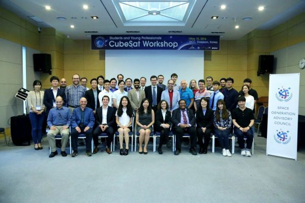 Students and Young Professionals along with Senior Officials at the Cubesat Workshop (c) Deliya Kim