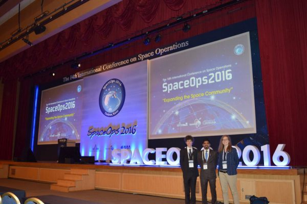 OeWF representatives Michael, Pradyumna and Sophie (left to right) at the SpaceOps Conference (c) Mauricio Coen