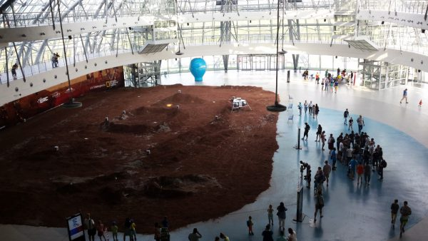 The exhibition hall featuring the Mars environment for the rover competition (c) OeWF