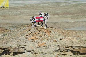 AustroMars astronauts with Austrian flag