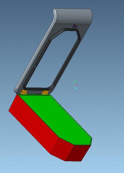 Die bisherige CAD Konstruktion mit HUT (grau), PLSS (rot und grün), Scharnier (gelb), Dichtung (schwarz) und Schließmechanismus (violett)