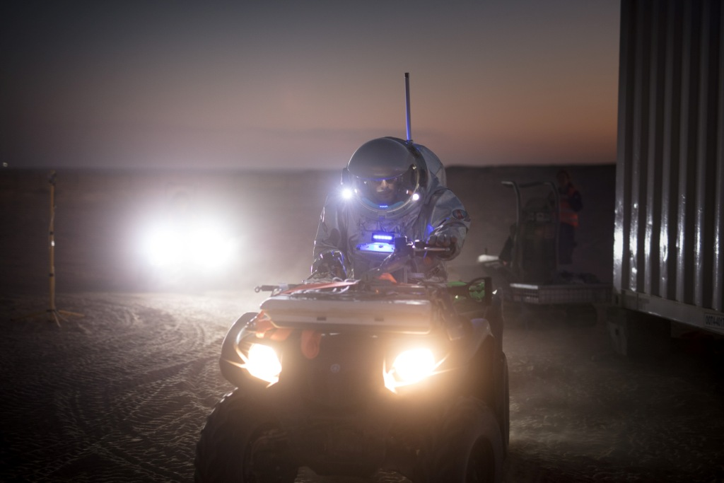 Analog Astronaut Joao Lousada on a quad at night. Photo: (c) OeWF (Florian Voggeneder).