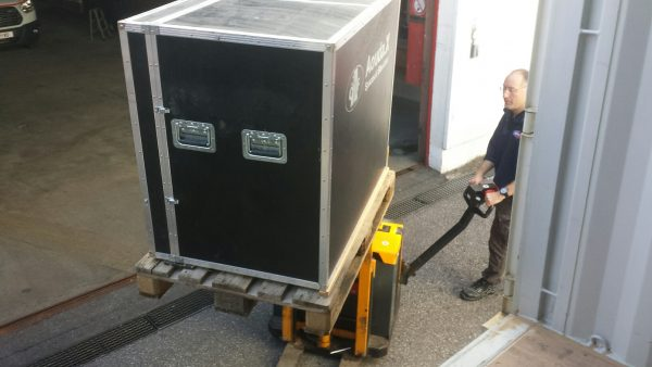 Hardware from AMADEE-18 being unloaded from the shipping container.