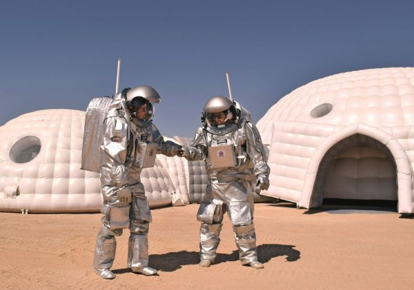 Analog Astronauts Dr. Carmen Köhler and Dr. Stefan Dobrovolny during Mars Analog Mission in Oman in February 2018, (c) OeWF