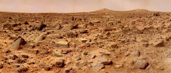 Twin Peaks on Mars captured by Mars Pathfinder (c) NASA