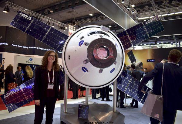 IAC2018 Bremen, Sophie Gruber next to Orion module model