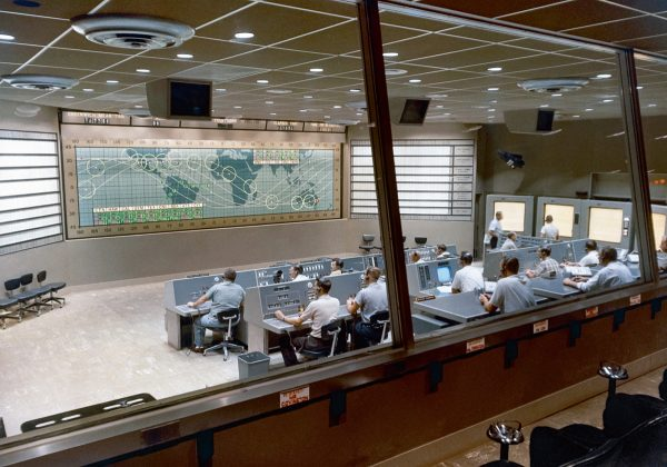 The Mercury Control Center (MCC) at the Cape Canaveral  (c) NASA