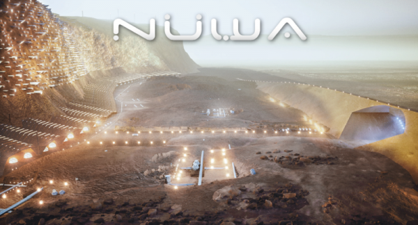 Artistic representation of the wall and valley sections of the Nuwa concept on the slopes of Mensa Terra.  (c) ABIBOO Studio / SONet (Gonzalo Rojas)