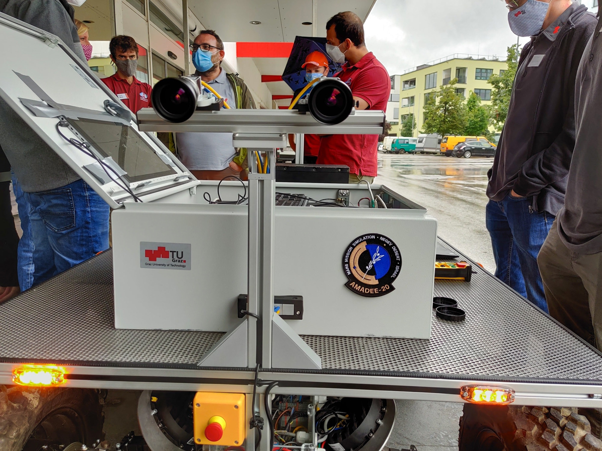 Mercator rover in front of the MSC in Innsbruck