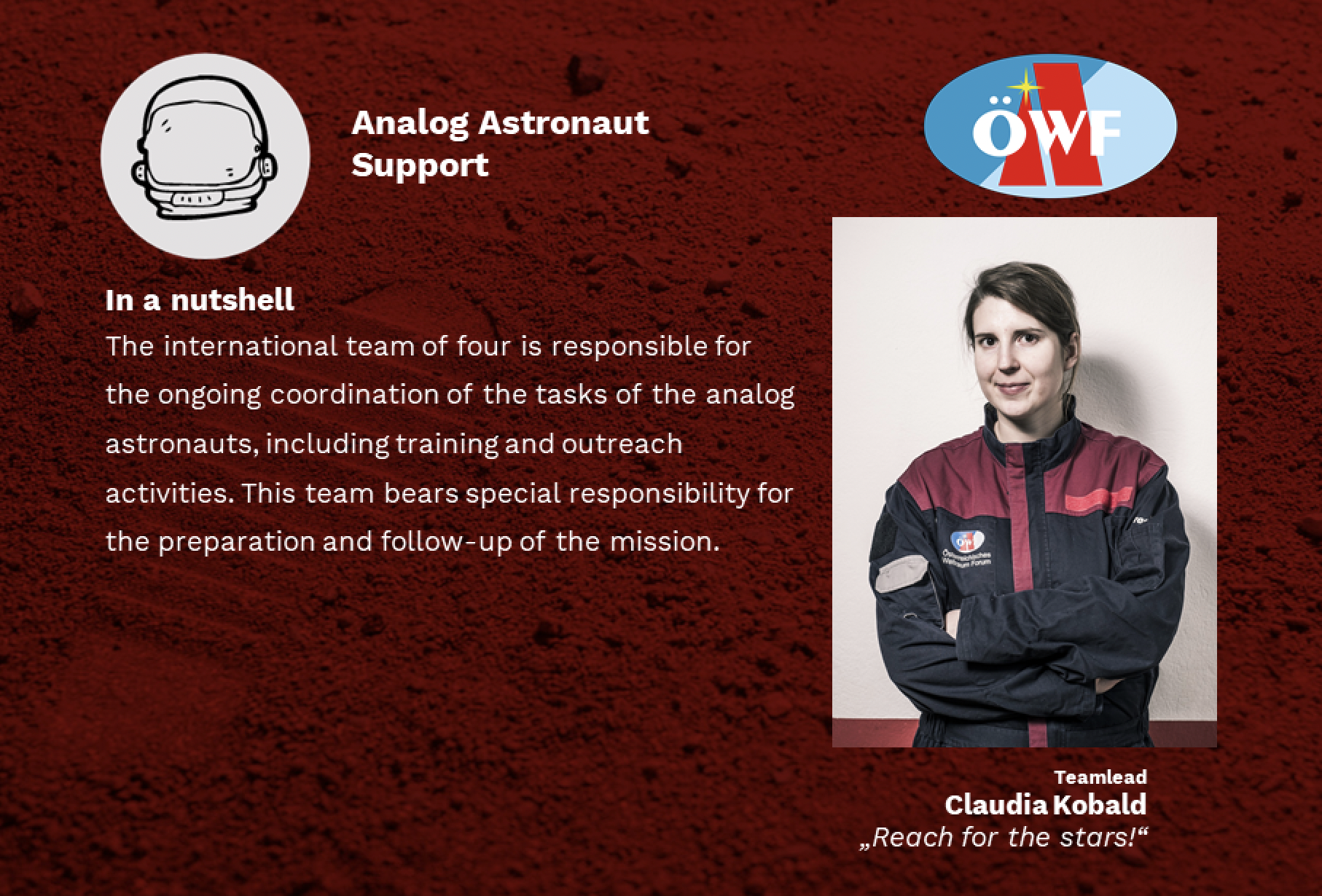 Our Analog Astronaut Support (AAS) – an introduction.